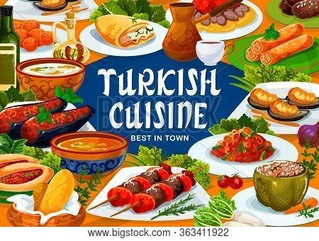 Turkish Cuisine Food, Meals, Drinks And Desserts, Vector Restaurant Menu. Turkish Iskender Kebab Mea