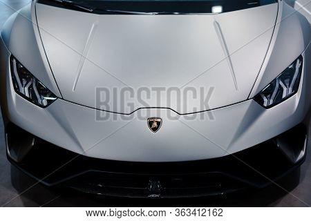 Original Lamborghini Huracan Performante. Logo And Front Grill, Headlights. Luxury Stylish Sport Car
