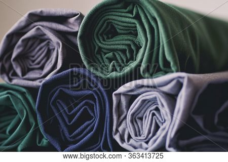 Background Of Natural Textile Cloth. Textile Factory.