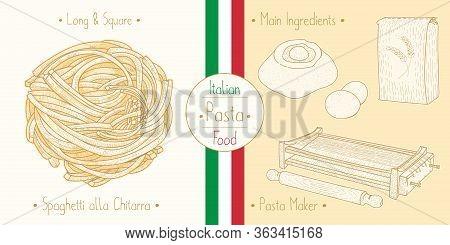 Cooking Italian Food Spaghetti Chitarra Aka Tonnarelli Square Pasta And Main Ingredients And Pasta M