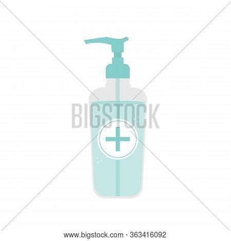 Liquid Hand Sanitizer Gel, Antiseptic In Bottle Vector Icon, Illustration.