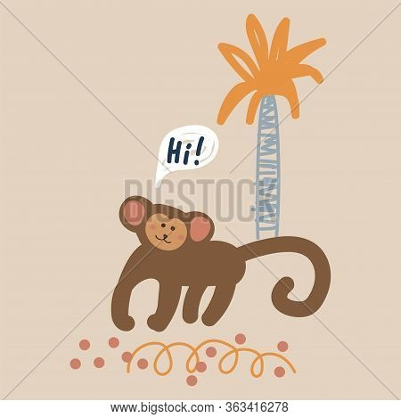 Cute Cartoon Monkey Vector Childish Illustration. Funny Jungle Monkey Animal And Palm Tree.