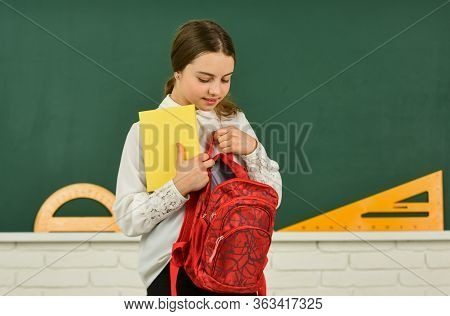 Knowledge Day. Girl In School Classroom Copy Space. School Project. Educative Activity. Child Study
