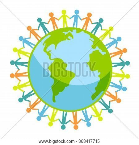 People Around Earth Icon. Group Of People Around Globe Isolated On White Background. Vector Stock