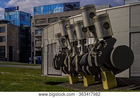 Stuttgart,germany - March 31,2020:bad Cannstatt This Is A Big Metal Decoration Of A Part Of A Motor