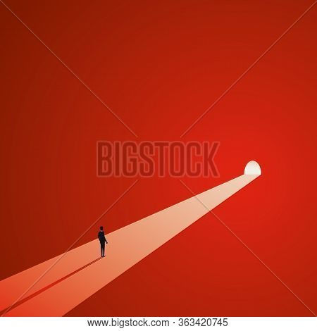 Light At The End Of The Tunnel Vector Concept. Symbol Of Dark Times Ending, Hope On Horizon, Future