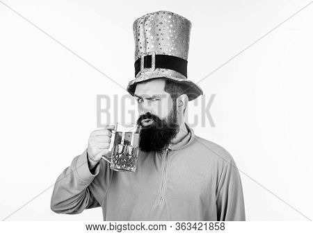 Irish Beer Pub. Global Celebration Irish Culture. Man Bearded Hipster Hat Patricks Day Drink Pint Be