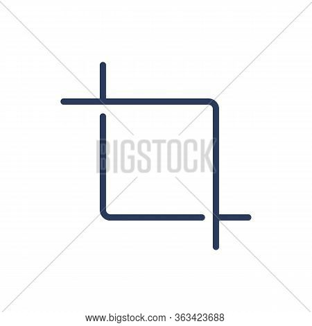 Crop Tool Thin Line Icon. Section, Shape, Frame Isolated Outline Sign. Image Editing And Photo Corre