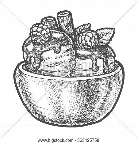 Sketch Ice Cream Scoops, Strawberry, Wafer Sticks