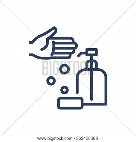 Washing Hands Thin Line Icon. Soap, Water, Hygiene Isolated Outline Sign. Healthcare And Virology Co