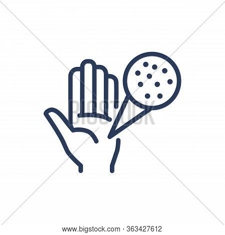Bacteria On Hands Thin Line Icon. Disinfection, Touching, Microbe Isolated Outline Sign. Healthcare