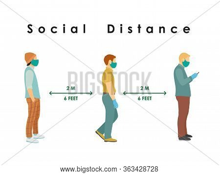 Social Distance. Full Length Of Cartoon Sick People Men In Medical Masks And Gloves Standing In Line