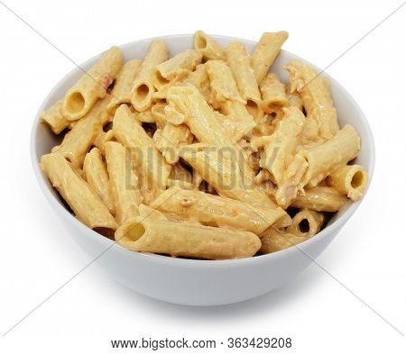 Bowl of Four Cheese Sauce on Penne Pasta with Clipping Path
