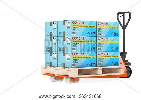 Hand Pallet Truck With Stacks Of Rapid Test Device For Viral Disease Novel Coronavirus Covid-19 2019