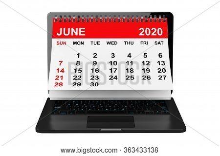 2020 Year Calendar. June Calendar Over Laptop Screen On A White Background. 3d Rendering