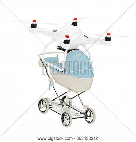 New Baby Born Concept. Air Drone Delivering Modern Blue Baby Carriage, Stroller, Pram On A White Bac