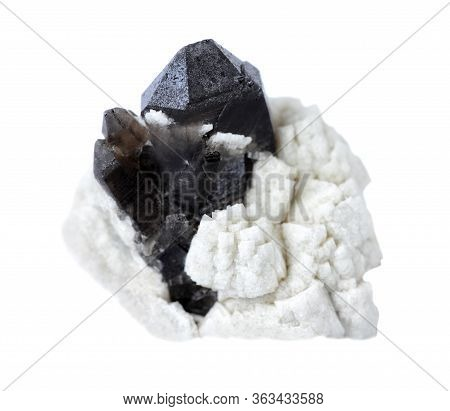 Very Dark Smoky Quartz (morion) Crystals In White Albite Isolated On A White Background