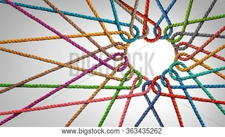 Unity And Love Partnership As Ropes Shaped As A Heart In A Group Of Diverse Strings Connected Togeth