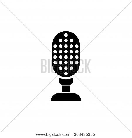 Retro Audio Microphone, Musical Mike. Flat Vector Icon Illustration. Simple Black Symbol On White Ba