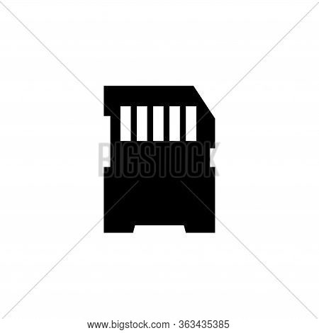 Compact Memory Card, Micro Sd Storage. Flat Vector Icon Illustration. Simple Black Symbol On White B