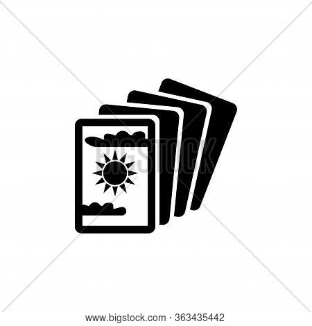 Magical Tarot Cards, Mystery Cartomancy. Flat Vector Icon Illustration. Simple Black Symbol On White