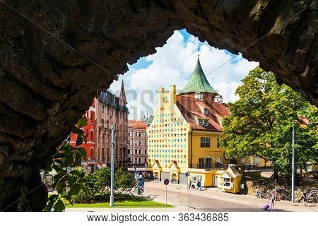 Riga, Latvia - July 12, 2018: Cityscape Of Riga. Old City. View Of The 1991 Barricades Square And Th