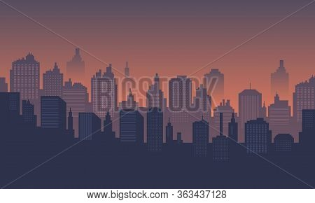 City Background At Dusk, Downtown Many Mall And Apartment