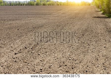 Black Agriculture Field In Sunset In Germany
