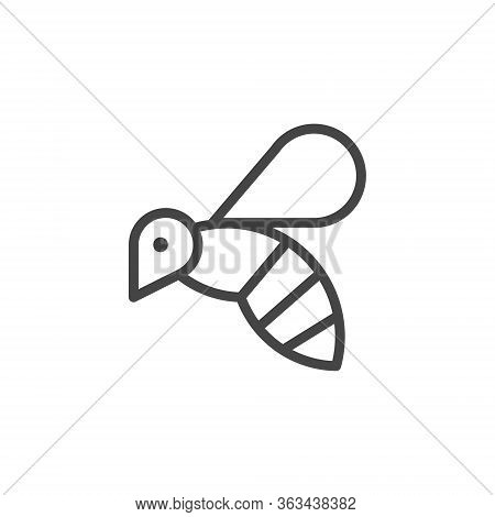 Thin Icon On Insect, Allergen Or Products Containing Honey. Such Line Sign As Flying Bee, Wasp Or Bu