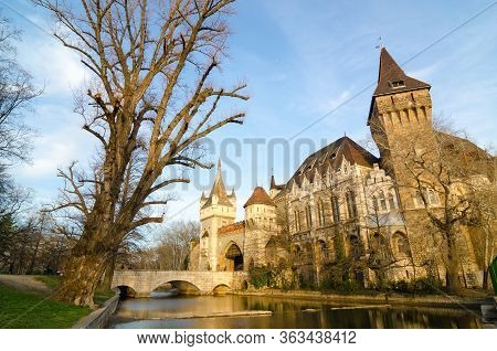 Vajdahunyad Castle Is A Castle In The City Park Of Budapest, Hungary