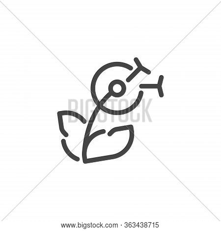 Thin Icon On Delicate, Flower. Such Line Sign As Blooming Dandelion.custom Vector Pictogram For Web