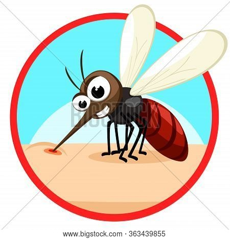 The Insect Mosquito Bites And Sucks Blood On Human Body. Character. Banner On A White Background