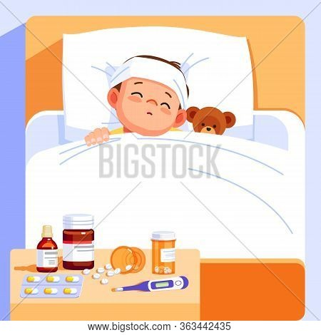 Sick Boy Sleep In Bed With A Teddy Bear And Feel So Bad With Fever. Cartoon Vector Illustration.
