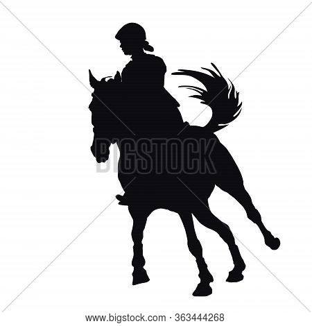 Show Jumping, Sports Girl Galloping On A Horse, Isolated Images, Black Silhouette On A White Backgro
