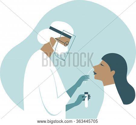 Coronavirus Covid-19 Diagnostics. Doctor Wearing Full Antiviral Protective Gear Making Nasal Swab T
