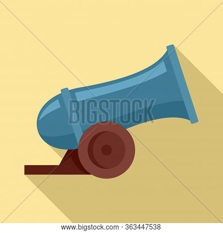Circus Cannon Icon. Flat Illustration Of Circus Cannon Vector Icon For Web Design