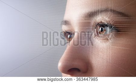 Biometrics Concept. Facial Recognition System. Face Recognition. Iris Recognition. Cyber Eye. Smart