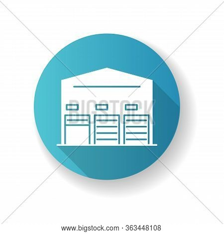 Self Storage Unit Blue Flat Design Long Shadow Glyph Icon. Industrial Building Entrance. Open And Cl