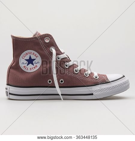 Vienna, Austria - February 19, 2018: Converse Chuck Taylor All Star High Bordeaux And White Sneaker
