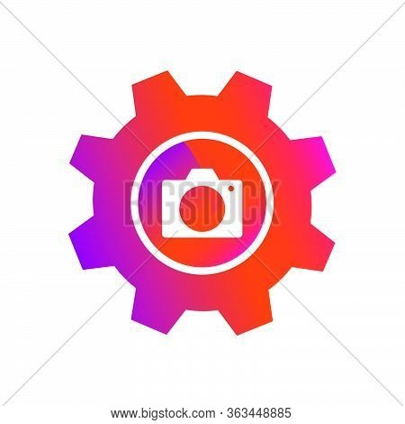 Gradient Style Setting Camera Picture Button Vector Icon