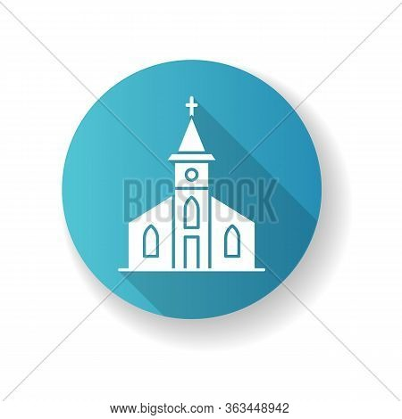 Catholic Church Blue Flat Design Long Shadow Glyph Icon. Religious Establishment With Cross On Roof.