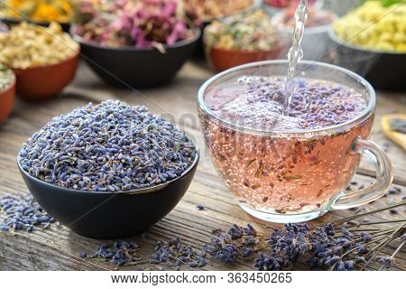 Cup Of Healthy Lavender Tea And Dry Lavender Flowers. Healthy Lavender Tea Poured Into Glass Cup. Bo