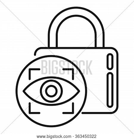 Padlock Authentication Icon. Outline Padlock Authentication Vector Icon For Web Design Isolated On W