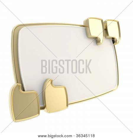 Copyspace Golden Plate In Glossy Quotes Isolated