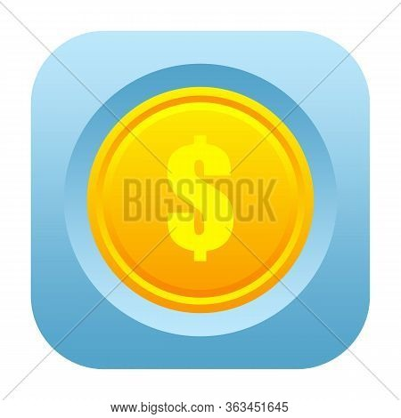 Dollar Golden Coin Icon Isolated On White Background