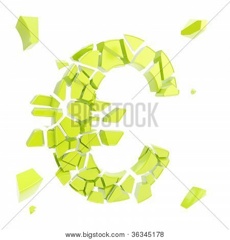 Euro Symbol Breaking Into Small Green Glossy Pieces