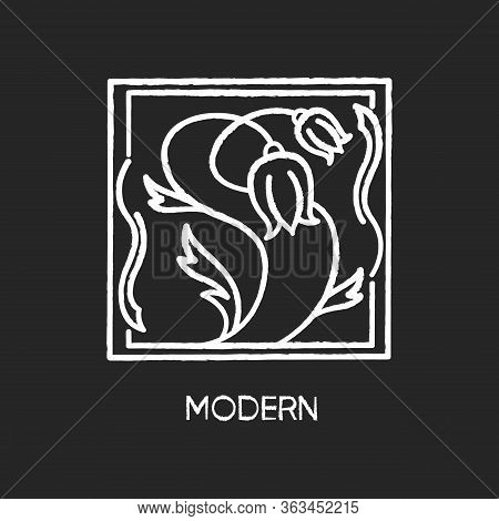 Modern Art Chalk White Icon On Black Background. Cultural Movement. Botanical Painting. Abstract Flo