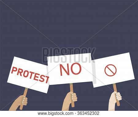 Hands Holding Protest Signs, Crowd Of People Protesters Background, , Political Crisis Poster. Revol