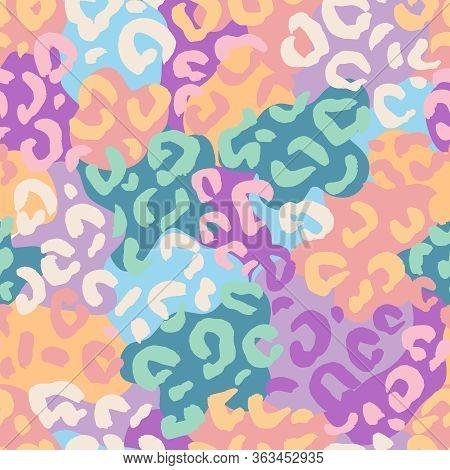 Animal Background. Leopard Or Cheetah Or Jaguar. Mammals Fur Seamless Pattern. Neon Color Bright Pri