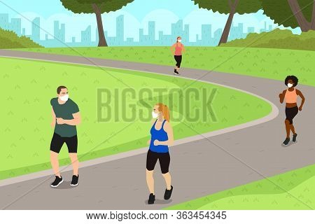 A Vector Illustration Of People Exercise In The Park While Practicing Social Distancing